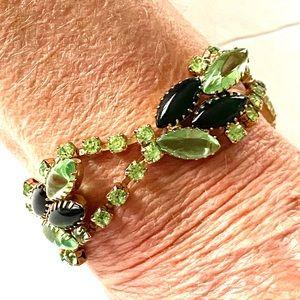 1960s Green Glass Rhinestone Bracelet
